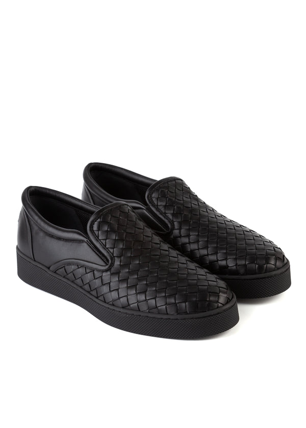 Bottega Veneta Womens Black Dodger Slip-On Leather Sneakers - ACCESSX