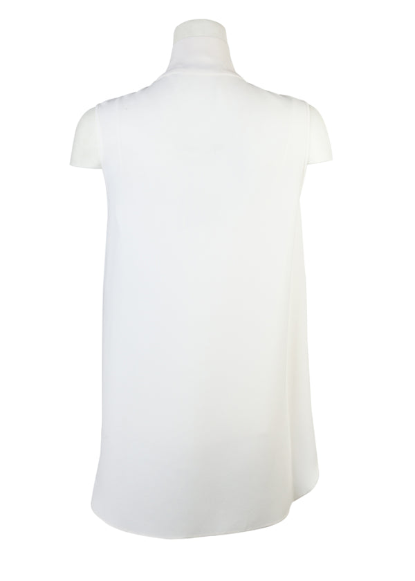 Dior Womens Ivory Tie-Neck Button-Up Sleeveless Top - Tribeca Fashion House