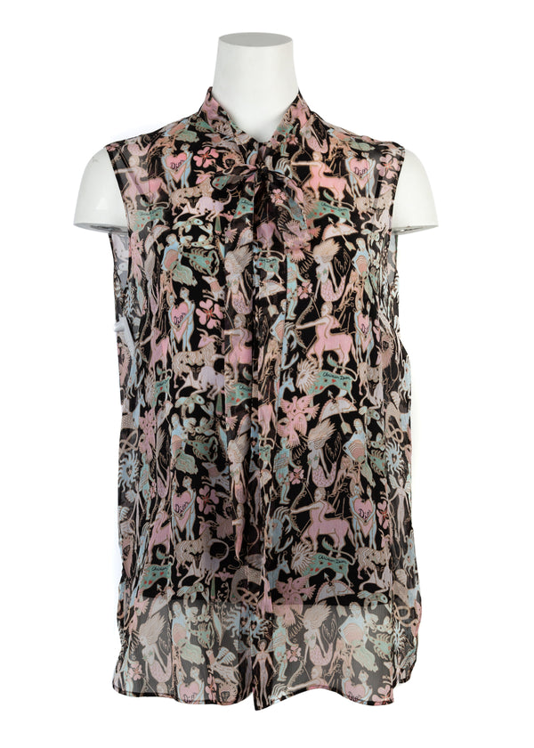 Dior Womens Sleeveless Patterned Blouse - Tribeca Fashion House