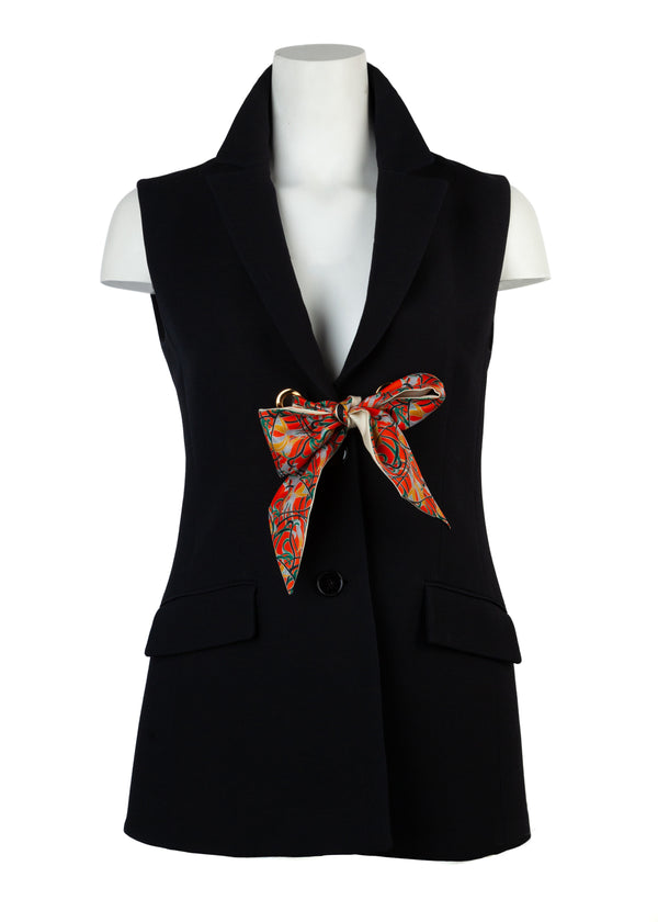 Dior Womens Black Wool and Silk Single-breasted Vest - Tribeca Fashion House