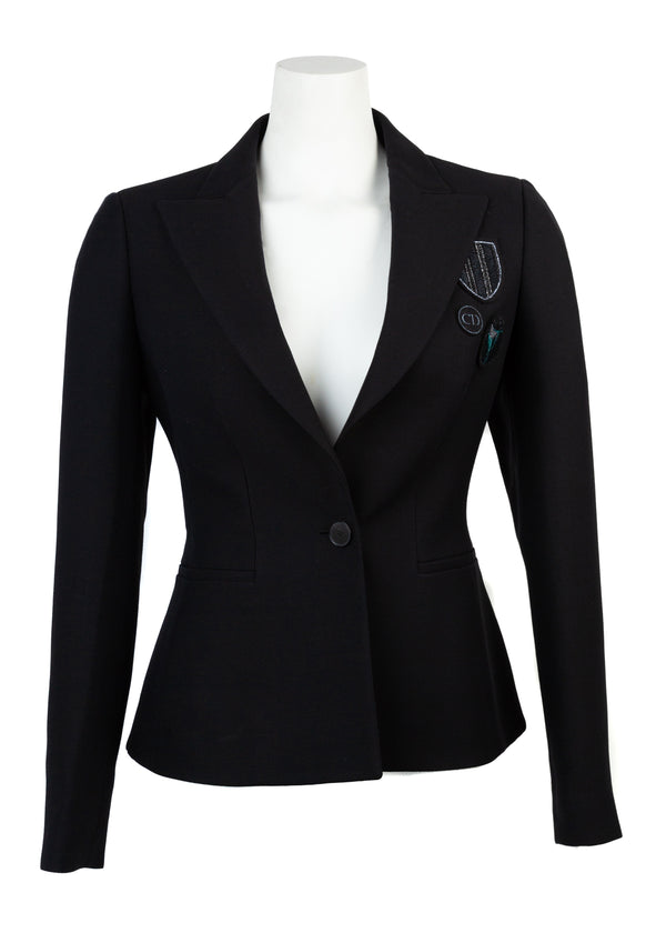 Dior Womens Black Wool and Silk Single-Breasted Blazer - Tribeca Fashion House