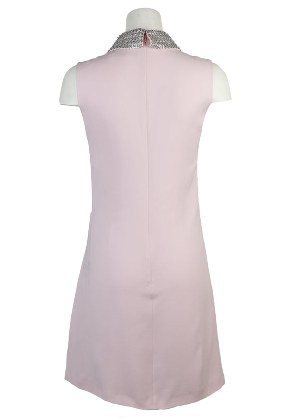 Dior Womens Pink Silver Beaded Collar Sleeveless Dress - Tribeca Fashion House