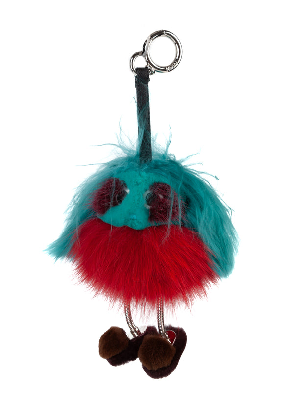 Fendi Womens Aqua Red Dad Mink Fur Keychain Ring Bag Charm - Tribeca Fashion House