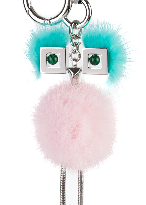 Fendi Womens Marshmallow Pink Green Mink Fur  Keychain Bag Charm - Tribeca Fashion House