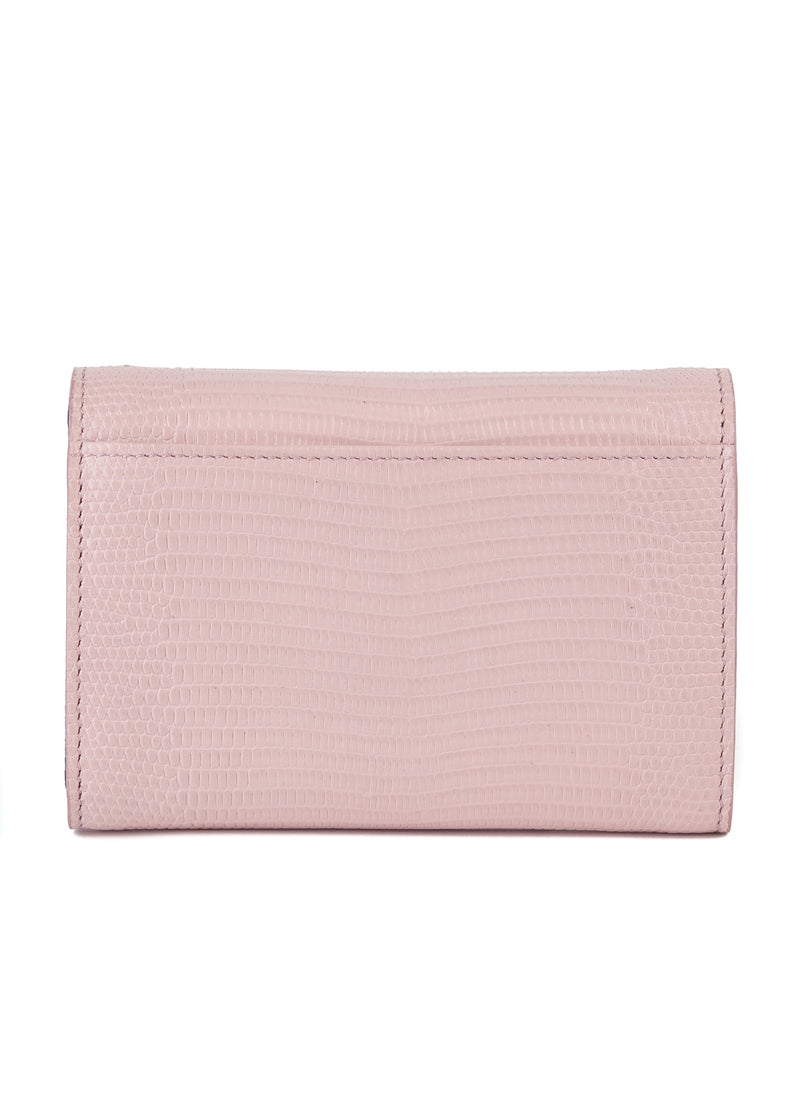 Dolce & Gabbana Womens Pink Textured Leather Trifold Wallet - Tribeca Fashion House