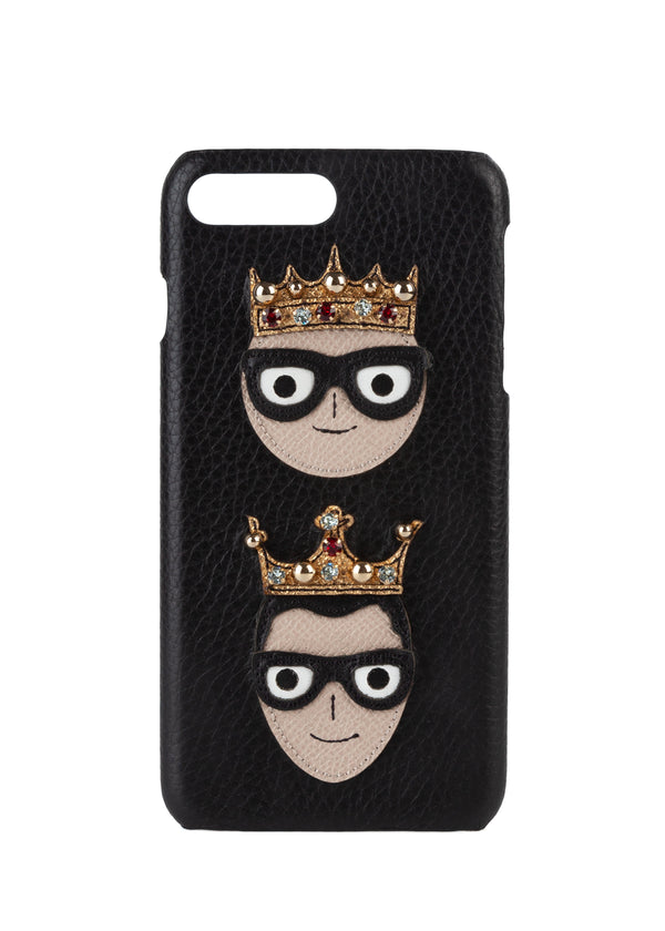 Dolce & Gabbana Black Designer Patch With Embellished Crown iPhone 7+ Case - Tribeca Fashion House