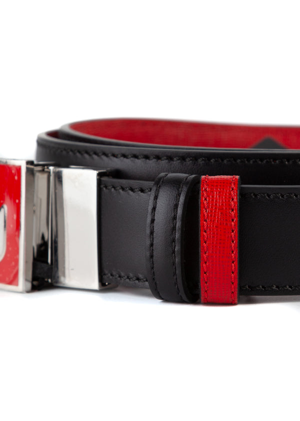 Fendi Mens Red Black Elite Leather Bag Bugs Monster Eyes Buckled Belt - Tribeca Fashion House