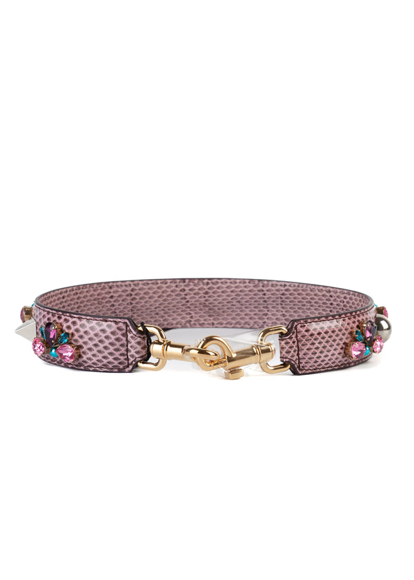 Dolce & Gabbana Women's Pink Snakeskin Bag Strap With Rhinestones - Tribeca Fashion House