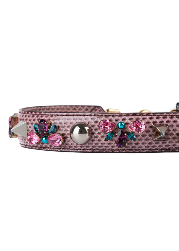 Dolce & Gabbana Womens Pink Snakeskin Bag Strap With Rhinestones - Tribeca Fashion House