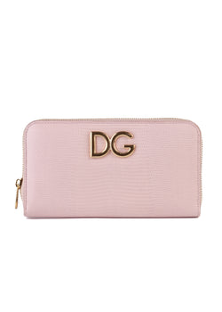 Dolce & Gabbana Womens Pink Textured Leather Wallet - ACCESSX