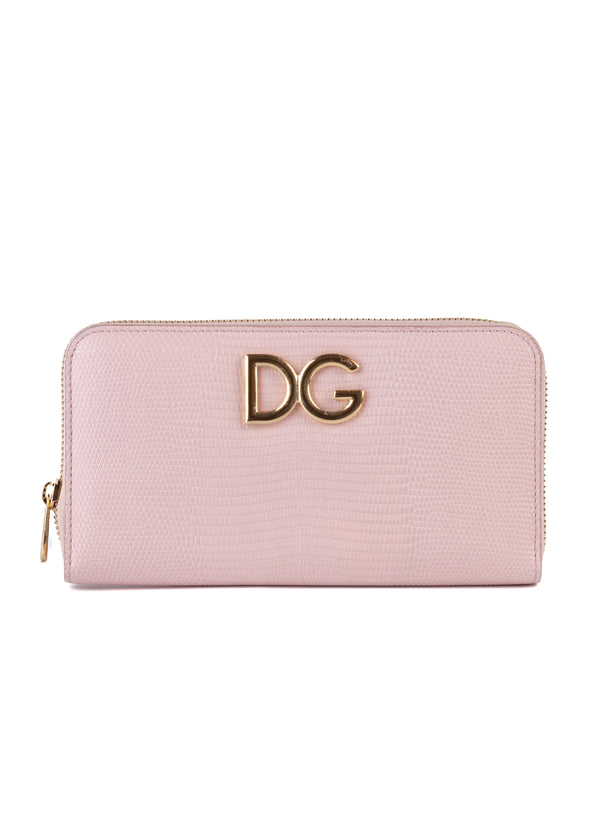 Dolce & Gabbana Womens Pink Textured Leather Wallet - Tribeca Fashion House