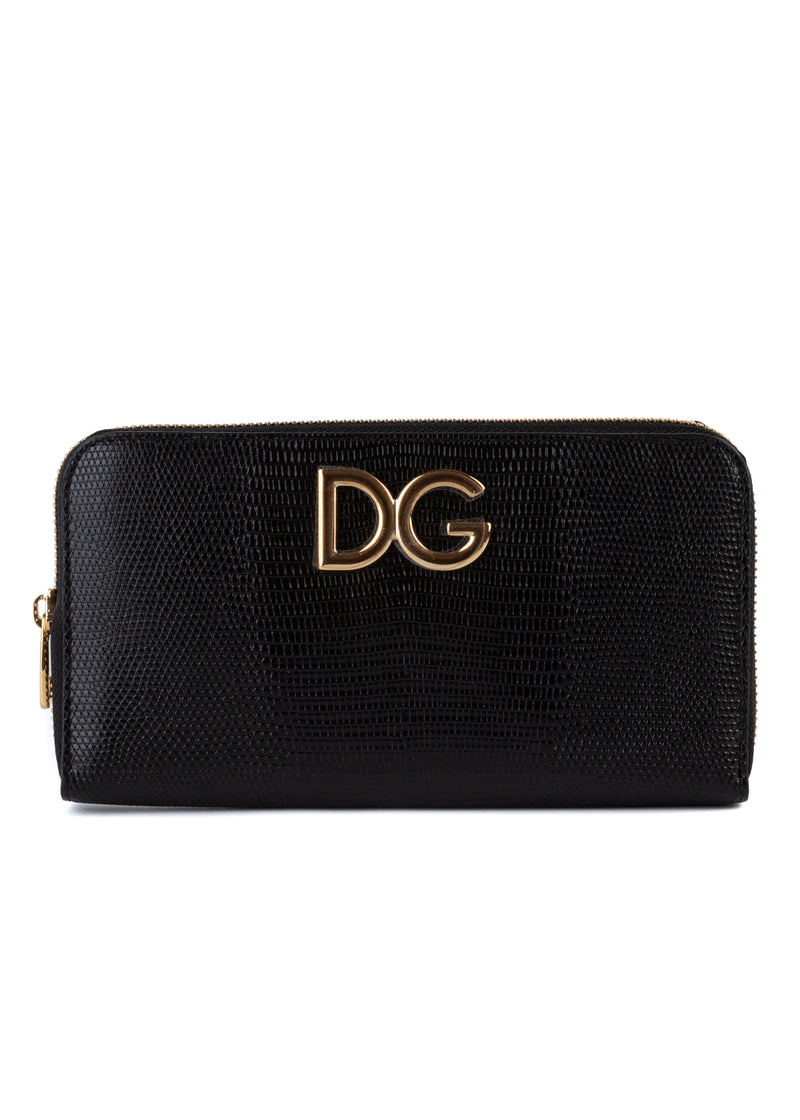 Dolce & Gabbana Womens Black Textured Leather Wallet - ACCESSX