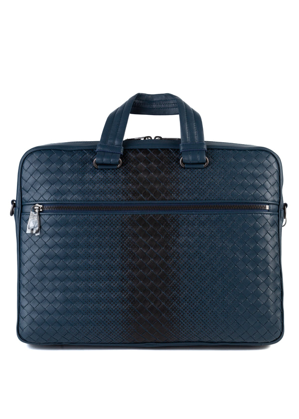 Bottega Veneta Mens Blue Intrecciato Calf Leather Briefcase - Tribeca Fashion House