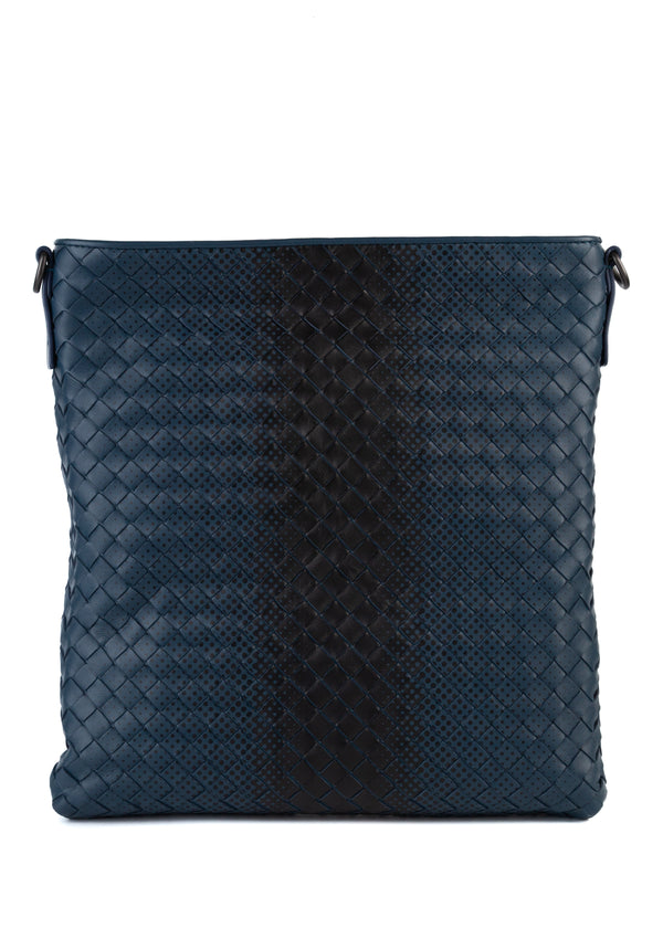 Bottega Veneta Mens Navy Intrecciato Calf Leather Mini Messenger Bag - Tribeca Fashion House