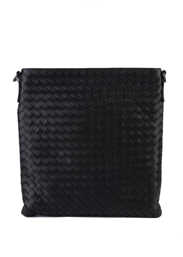 Bottega Veneta Mens Black In Mini Messenger Bag - Tribeca Fashion House