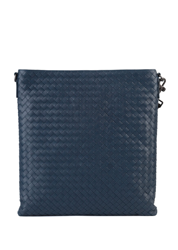 Bottega Veneta Mens Denim Intrecciato Calf Leather Large Messenger Bag - Tribeca Fashion House
