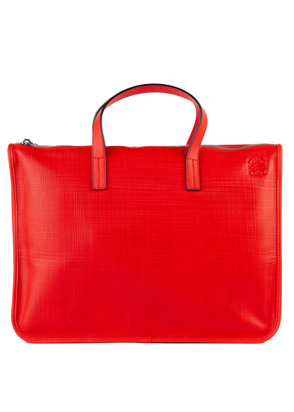 Loewe Womens Red Leather Briefcase Document Bag - Tribeca Fashion House
