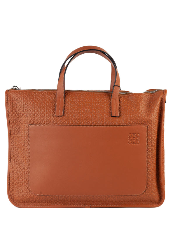 Loewe Mens Brown Leather Briefcase - Tribeca Fashion House