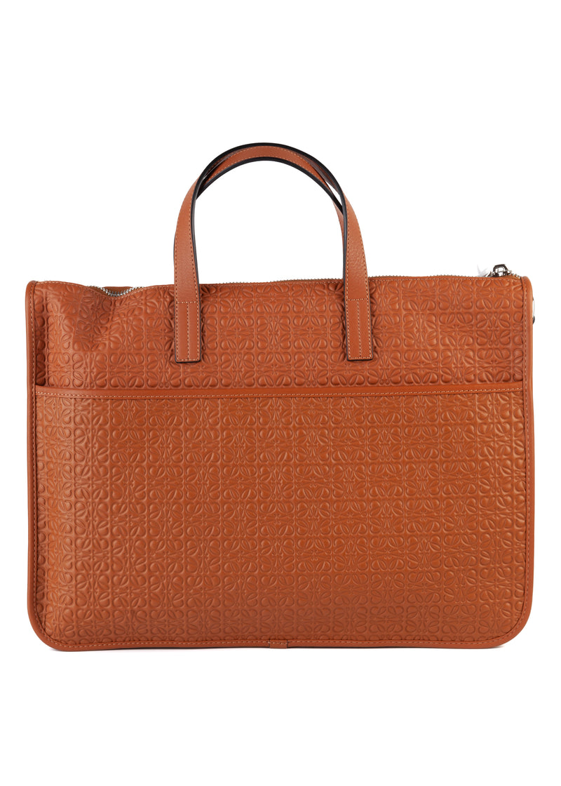 Loewe Mens Brown Leather Embossed Briefcase - ACCESSX
