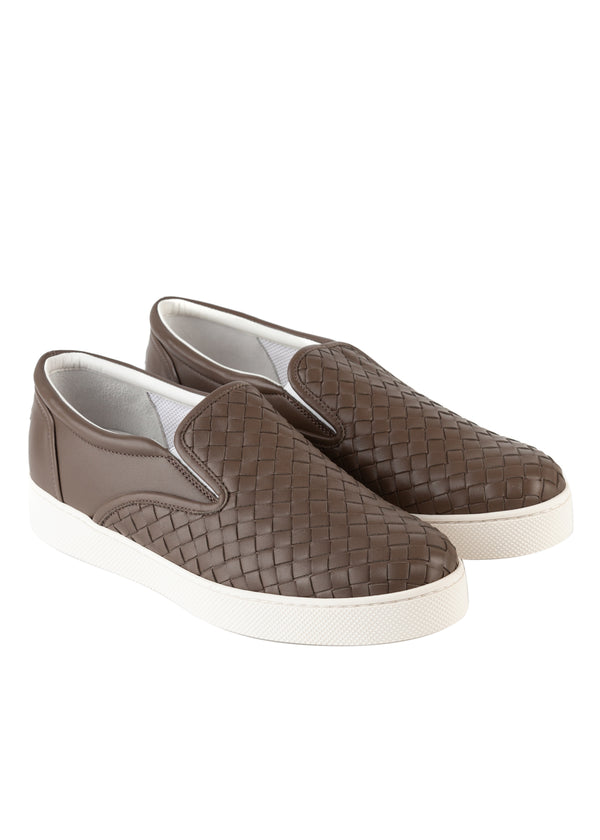 Bottega Veneta Mens Brown Dodger Slip-On Leather Sneakers - Tribeca Fashion House