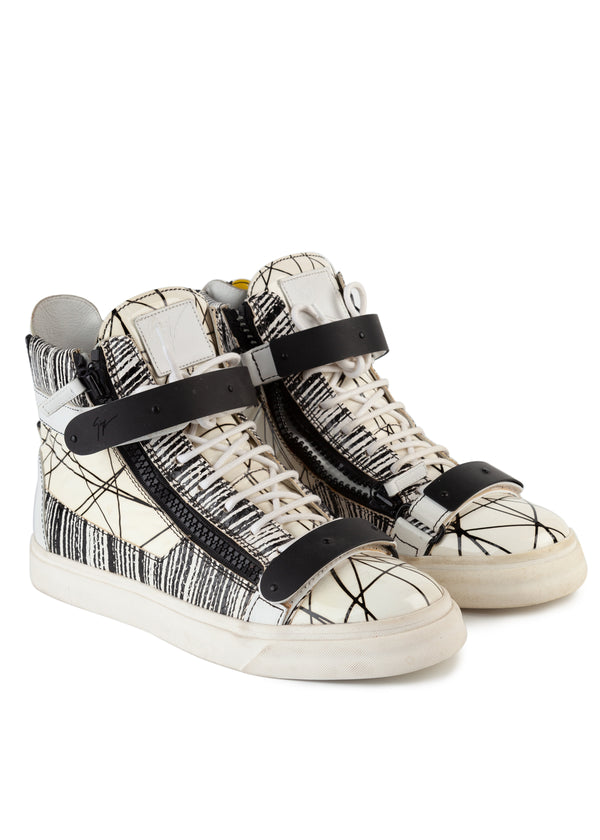 Giuseppe Zanotti Mens White Geometric Print High-Top Leather Sneakers - Tribeca Fashion House