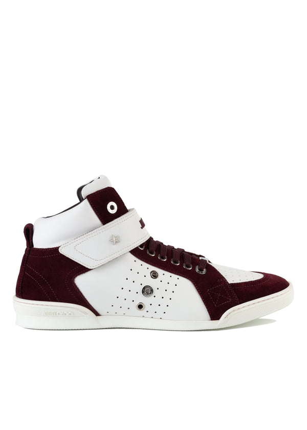 Jimmy Choo Mens Two-Tone Red Lewis Leather Suede High-top Sneakers - Tribeca Fashion House