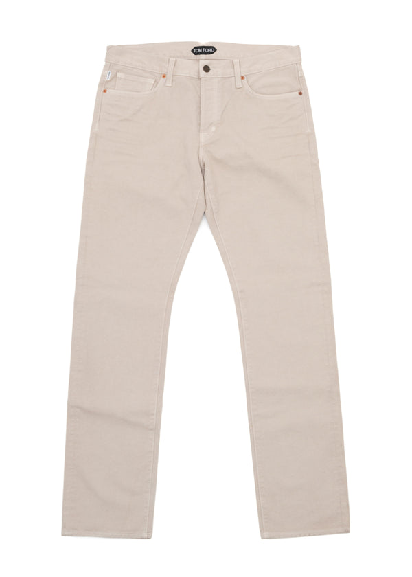 Tom Ford Men's Cream Cotton Non Stretch Straight Fit Jeans TFD002 - Tribeca Fashion House