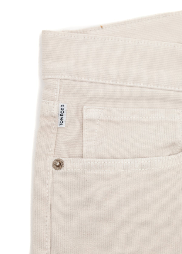 Tom Ford Mens Ivory Cotton Non Stretch Straight Fit Jeans TFD002 - Tribeca Fashion House