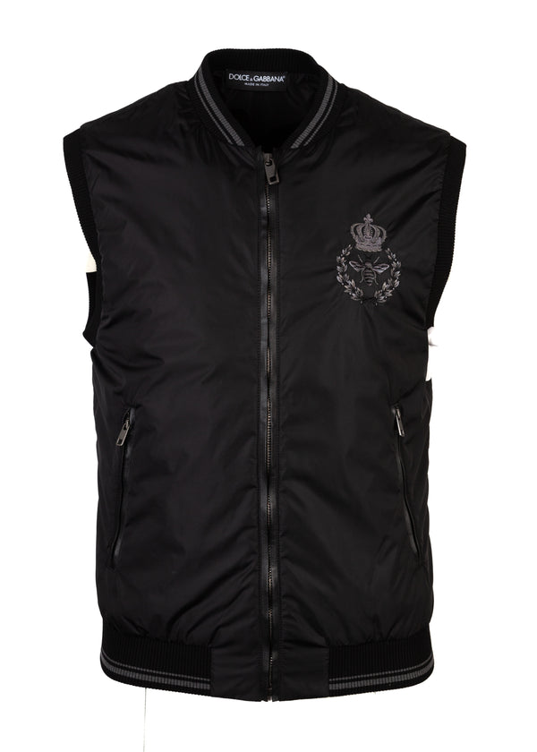 Dolce & Gabbana Mens Black Nylon Vest Royal Crown Bee Logo Jacket - Tribeca Fashion House