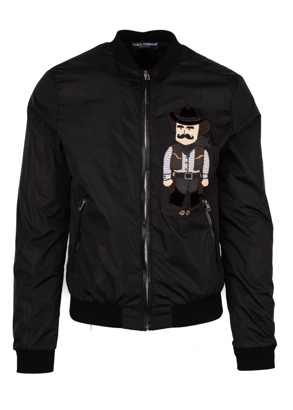 Dolce & Gabbana Mens Black Nylon Cowboy Patch Bomber Jacket - Tribeca Fashion House