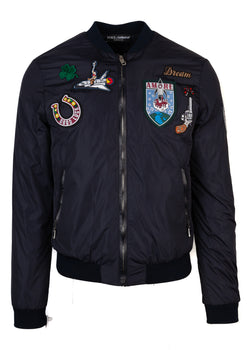 Dolce & Gabbana Mens Navy Bomber With Patches - ACCESSX