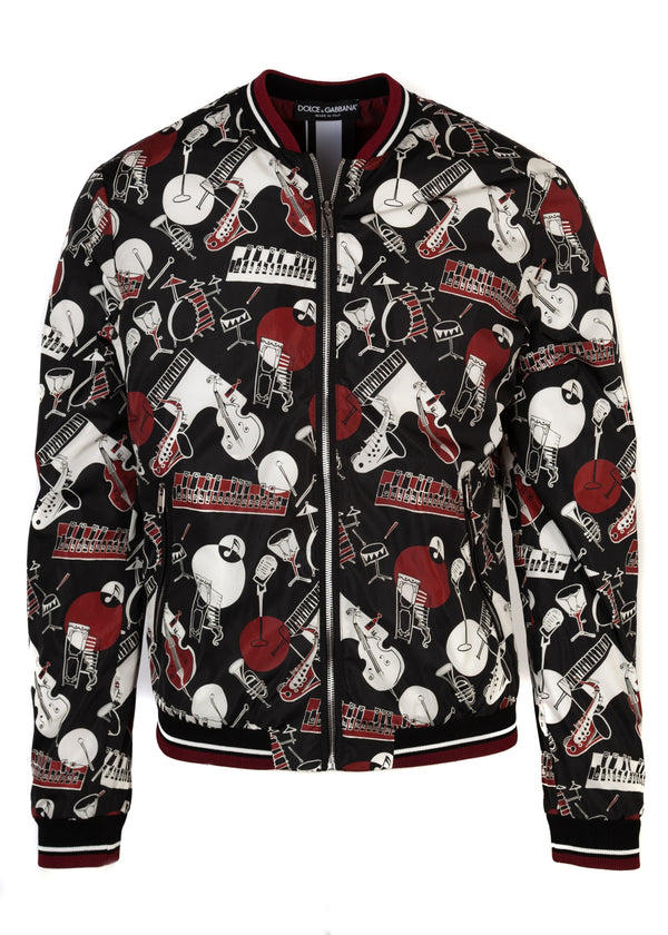 Dolce & Gabbana Mens Red Musical Instrument Printed Bomber - ACCESSX