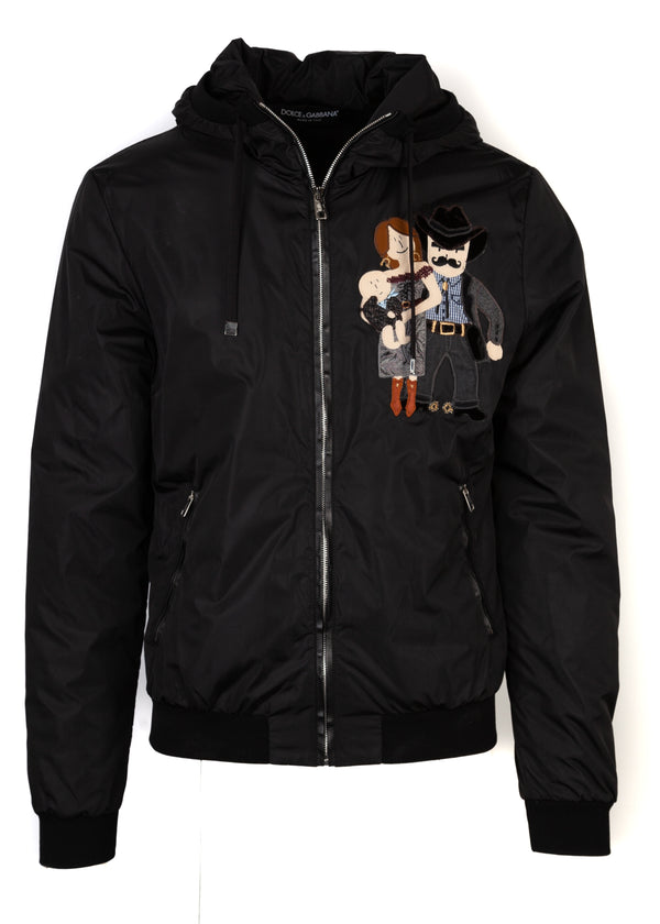 Dolce & Gabbana Men's Hooded Black Bomber With Western Family Patch On Left Chest - Tribeca Fashion House