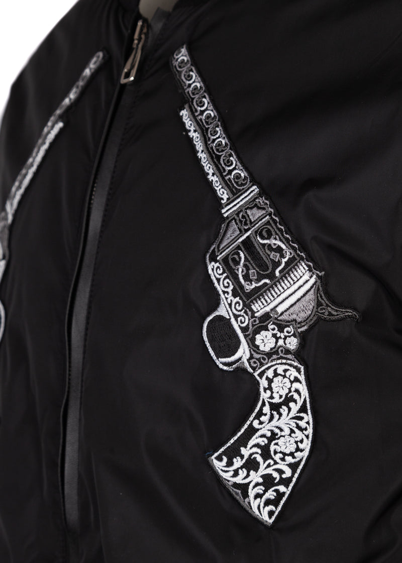 Dolce & Gabbana Mens Black Pistol Embroidered Bomber - ACCESSX