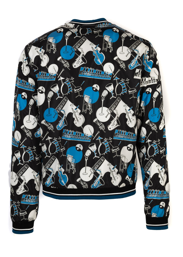 Dolce & Gabbana Men's Blue Musical Instrument Printed Bomber - ACCESSX