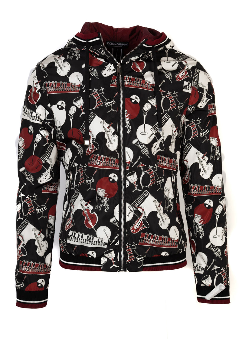 Dolce & Gabbana Mens Multicolored Musical Instrument Printed Jacket - ACCESSX