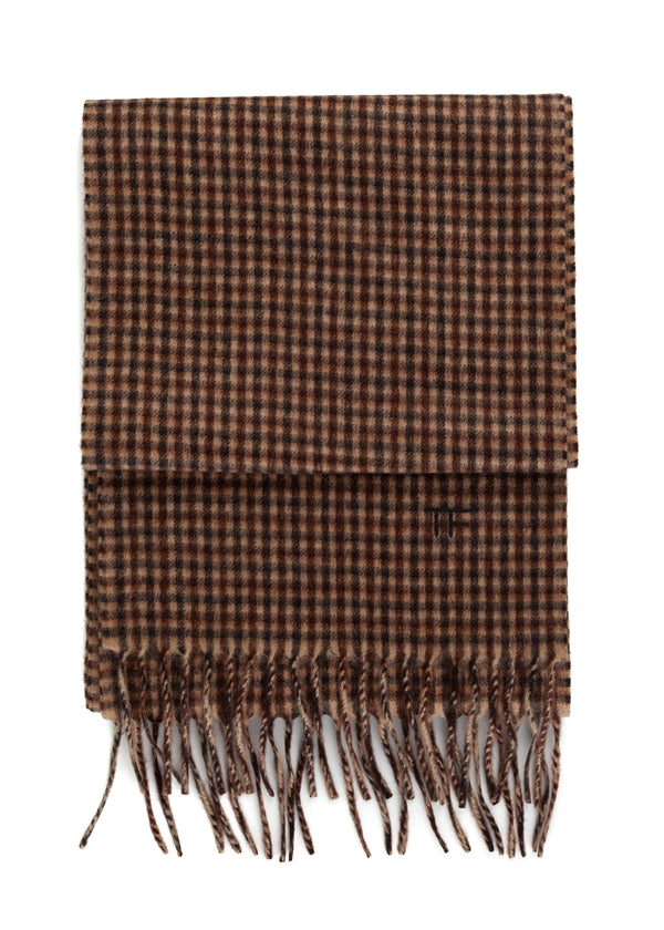 Tom Ford 100% Cashmere Scarf With Plaid Brown, Beige, and Black Pattern - Tribeca Fashion House