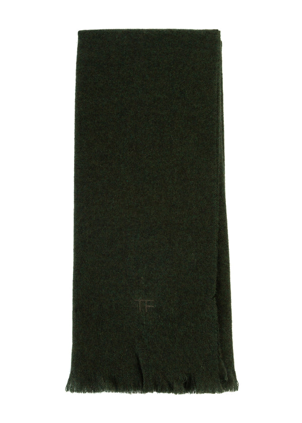 Tom Ford Mens Green Solid Fringe 100% Cashmere Scarf - Tribeca Fashion House