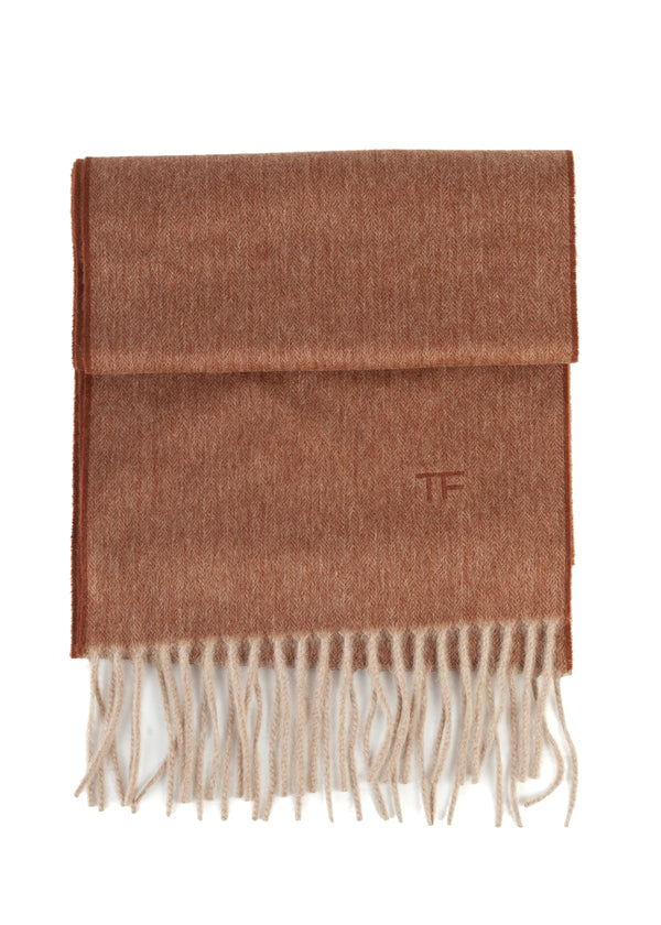 Tom Ford 100% Cashmere Scarf Solid Brown With Fringes - Tribeca Fashion House