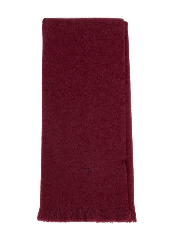 Tom Ford Solid Mens Fringe Red Burgundy 100% Cashmere Scarf - Tribeca Fashion House