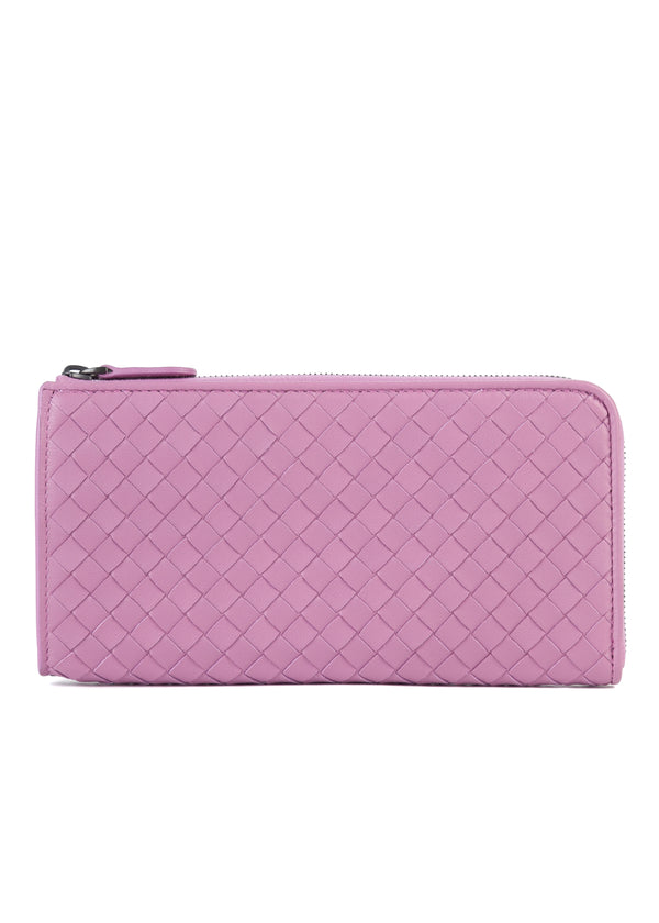 Bottega Veneta Womens Purple Woven Leather Wallet - Tribeca Fashion House