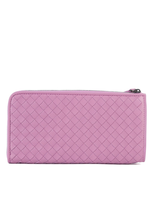 Bottega Veneta Womens Purple Woven Leather Wallet - ACCESSX