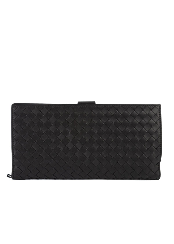 Bottega Veneta Mens Black Everyday Leather Woven Wallet - Tribeca Fashion House