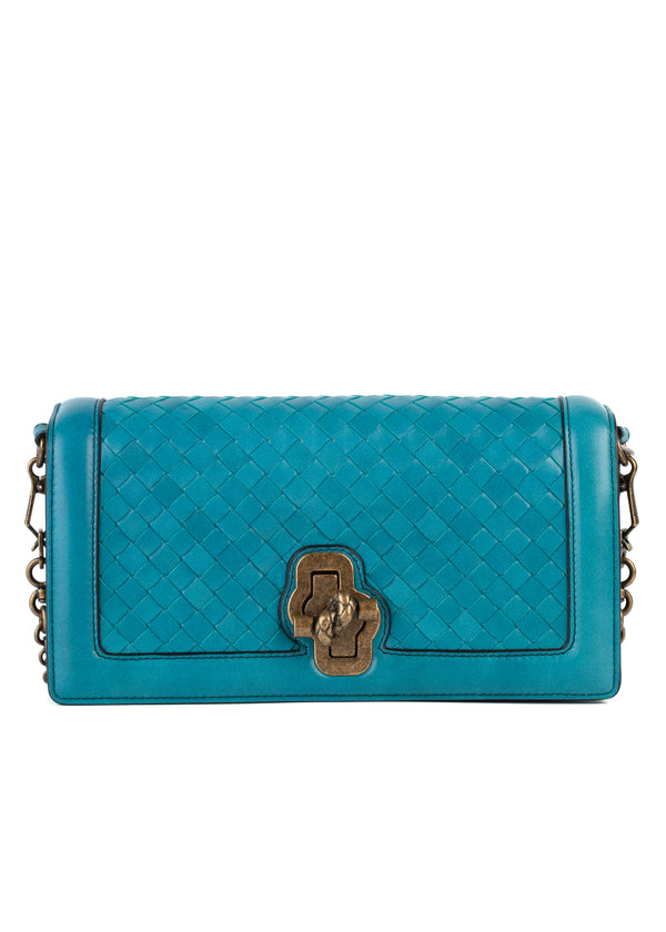 Bottega Veneta Women's Turquoise Green Woven Leather Mini Crossbody Bag RTL$2950 - Tribeca Fashion House