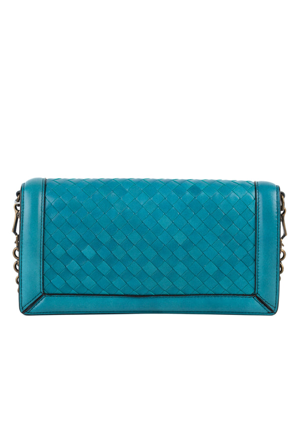 Bottega Veneta Womens Turquoise Knot Clutch Leather Crossbody - Tribeca Fashion House