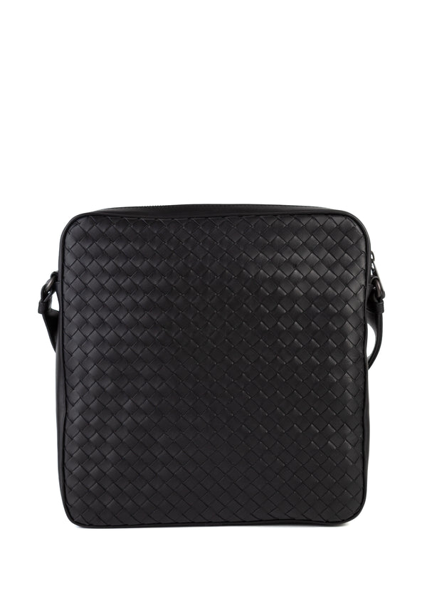 Bottega Veneta Mens Black Intrecciato Impero Messenger Bag - Tribeca Fashion House