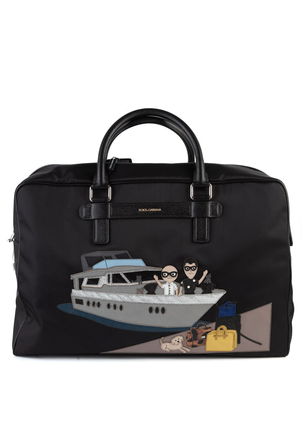 Dolce & Gabbana Mens Black Nylon Travel Bag Cruise - Tribeca Fashion House