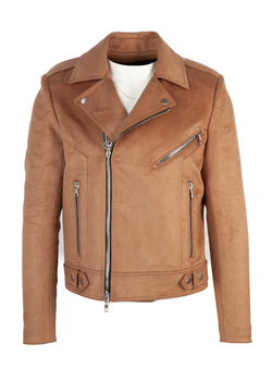 Balmain Mens Brown Suede Biker Jacket - ACCESSX