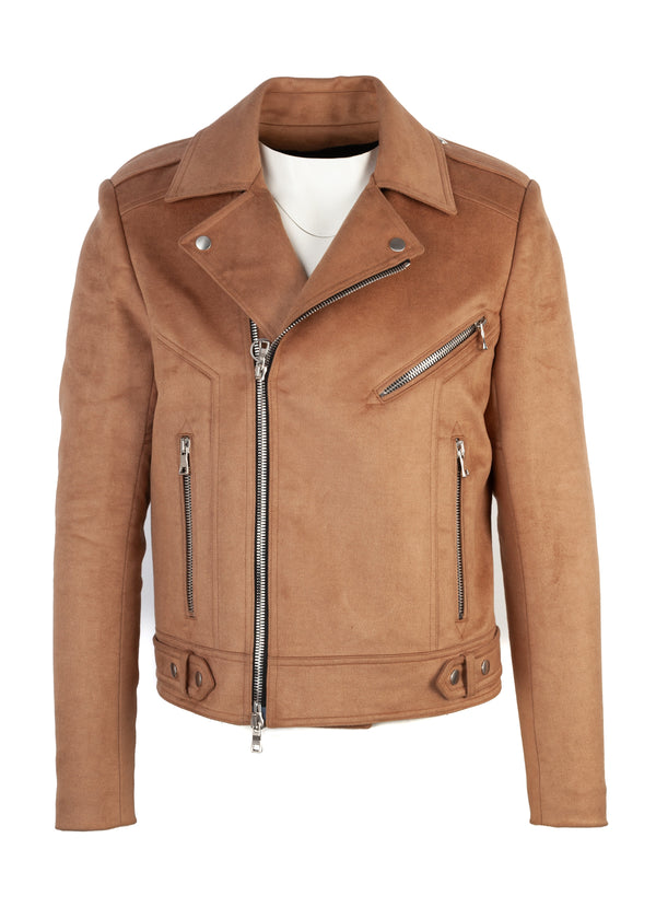 Balmain Mens Brown Suede Biker Jacket - Tribeca Fashion House
