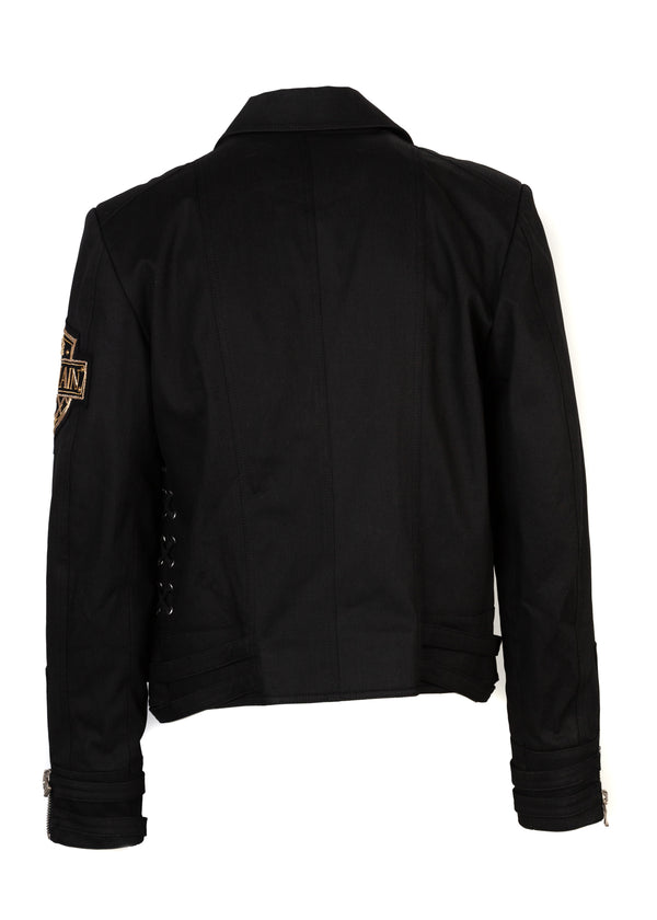 Balmain Mens Black Crown Badge Denim Biker Jacket - ACCESSX